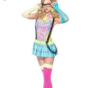 Neon punk school girl costume large leg Avenue